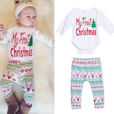 4 Pcs Baby Boy Girl Cloth Christmas Outfit Romper Pants Leggings Hat Clothes LM