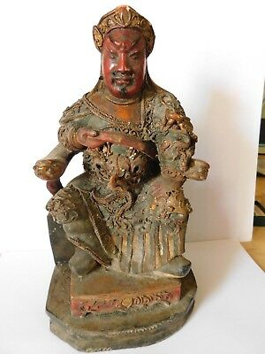 Antique Chinese Lacquered Gilt Wood God / Deity Figure