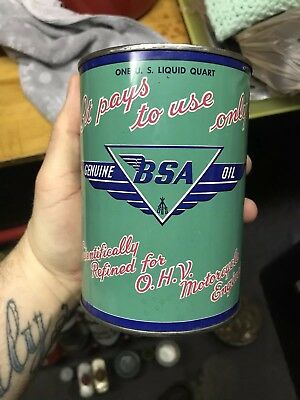 BSA Motorcycle Vintage Oil Can Harley Davidson Indian Collector petroleum