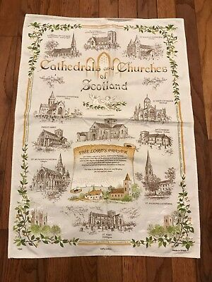 Cathedrals & Churches of Scotland Linen Dishcloth Kitchen Towel (J2)
