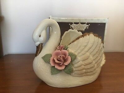 Vintage Ceramic Swan planter vase by CROWN Accents cream/gold trim-  pink roses