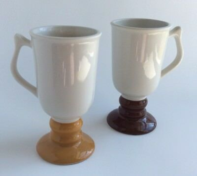 Vintage  HALL  (2) Footed Pedestal Mugs Cups #1272  Irish Coffee Cups USA