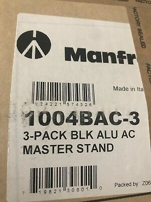 Manfrotto 1004BAC-3 Pack of 3 Tripod Master AC Black Max 3,66M Light Stands
