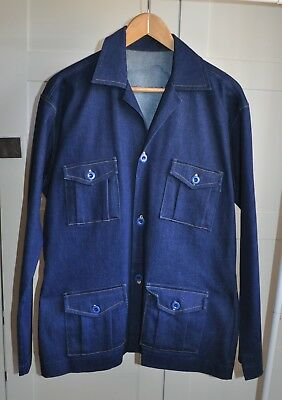 Vintage 70's Handmade Dark Denim Safari Jacket