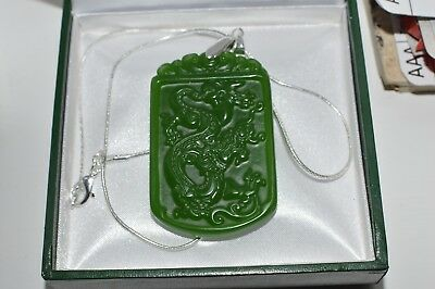 Jade Green Natural Hand-carved  Pendant  With 925 Sterling Silver Chain Stunning
