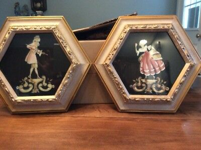 pair of Antique Victorian lady And Man stencil framed prints, Ornate Gildedframe