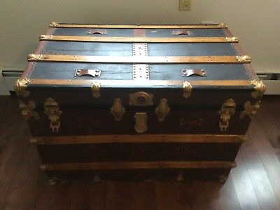 Antique Trunk Lined with Wallpaper