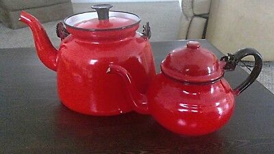 2 Vintage Collectible 1940's Poland Teapots - Red Enamelware with Black Handle