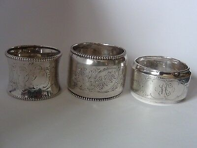 3 Antique Napkin Rings Dutch Sterling Silver Sword Mark & 800 Mixed Lot Fancy