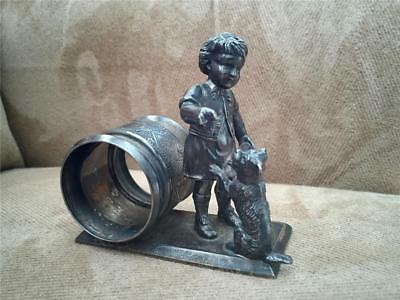 Antique Silver Plated Figural Napkin Ring Victorian c1880 Child w Dog, Meriden