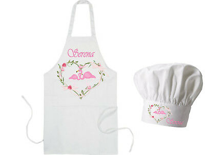 Personalised Child's School / Playschool / Nursery Flamingo Apron & Hat GIFT
