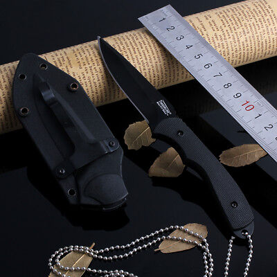 Camping Survival Tactical Fishing Hunting Fixed Blade Straight Necklace Knife