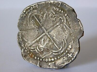 Antique Solid Silver Spanish / Mexican Cob / Reale Coin Piece Of Eight
