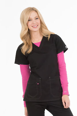 """MC2 by Med Couture Women's """"Olivia"""" 8475 Contrast Stitch V-Neck Scrub Top"""