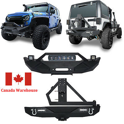 Front & Rear Bumper with Tire Carrier+ 60W Light Bar for Jeep Wrangler JK 07-18