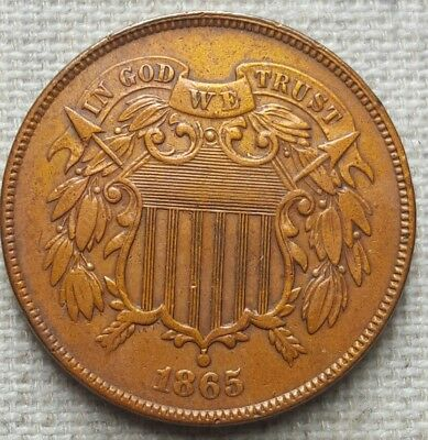 "1865 Two Cent Piece - XF - Bold ""WE"""