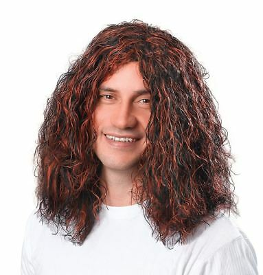 Adult Mens 60s 70s Black Brown Highlights Jesus Hippy Fancy Dress Wig Accessory