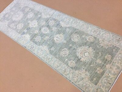 Muted Green Oushak Persian Oriental Rug Runner Hand Knotted Wool 2 6 X