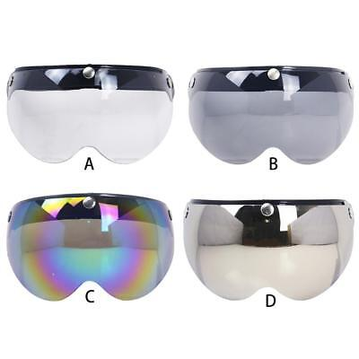 3-Snap Open Face Half Helmet Flip Up PC Lens Shield W Style Visor for Motorcycle