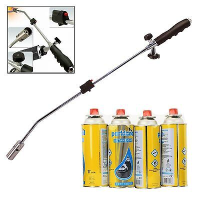 Gas Weed Wand Blowtorch Burner Killer Garden Torch Blaster + 4 Butane Gas Weeds