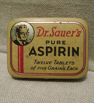 Vintage Advertising Tin-DR. SAUER'S ASPIRIN-Medical Health Drug-BLACKSTONE'S-NY