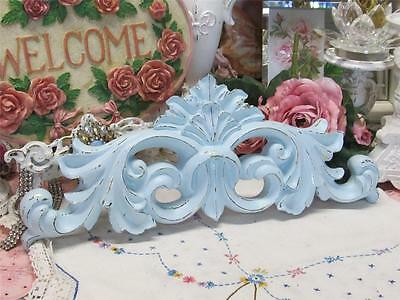 """ROBINS EGG BLUE PEDIMENT~POLYRESIN~SHABBY PATINA~16.5""""WIDE~Cottage~Chic"""