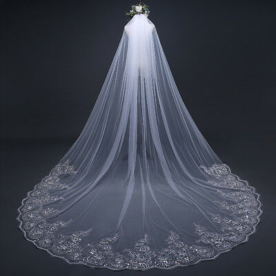 3M*3M Long Bridal Veils Edge Wedding Bride Veil with Comb Gift