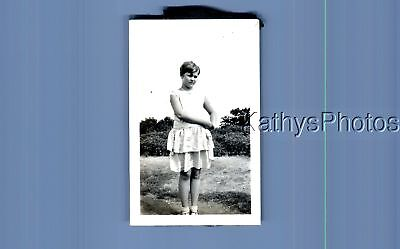 Found Vintage Photo A_1176 Pretty Teen Girl In Dress Posed
