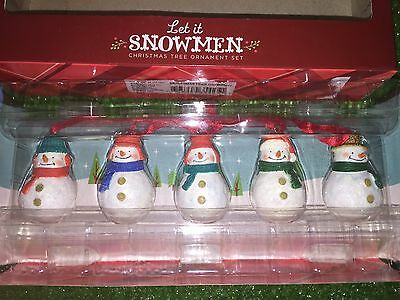New Set Of 5 Let It Snow Snowman Christmas Tree Ornaments by Hallmark