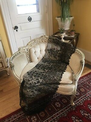 """DELICATE French ANTIQUE VICTORIAN CHANTILLY SILK FLORAL SCALLOP LACE TRIM 60"""""""