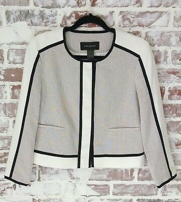 Ann Taylor Jacket Blazer Cropped Color Block Black Cream Moto Work Career Sz 6