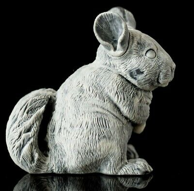 Chinchilla marble statuette stone art miniature realistic animal figurine