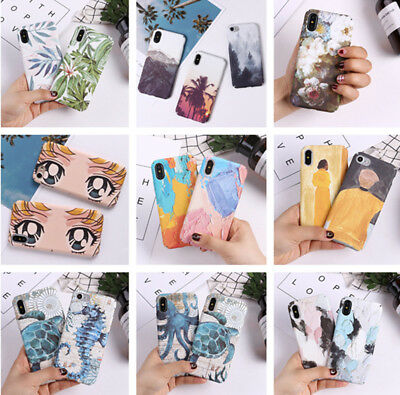 Shockproof Luminous Patterned Hard PC Slim Case Cover For iPhone X 6s 7 8 Plus 6