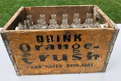 Early Vintage Orange Crush Soda Crate with Bottles