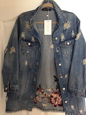 Zara Woman.  Distressed Denim Jacket With Embroidered Floral Design. Large