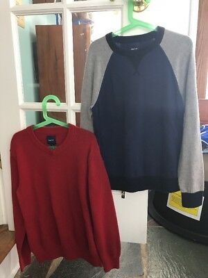 Gap Kids Boys Lot Of 2 Sweaters Size Large L 10 Solid Red And Blue Gray
