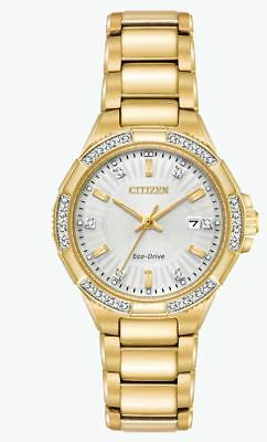 Citizen Eco-Drive Women's EW2462-51A Riva Diamond Accent Gold-Tone 30mm Watch