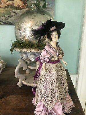 French Half Doll LAMP BOUDOIR/BED LACE Ribbon Roses Victorian Hat Plumes