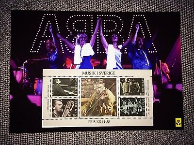 ABBA STAMP deleted 1983 on souvenir card Swedish Post Office MINT Agnetha Frida