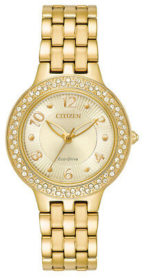 Citizen Eco-Drive Women's FE2082-51P Crystal Accents Gold-Tone 31mm Watch