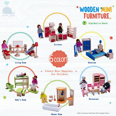 Latest 2018 Wooden Furniture Dolls House Family Miniature 6 Rooms Set Children