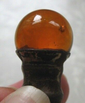 """Vintage AMBER BALL Molded Round Glass & Brass Lamp Finial 1/4"""" Opening"""