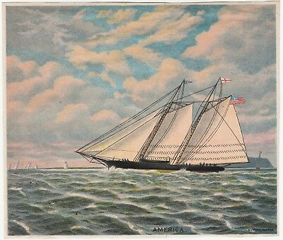 RARE Original Lithograph Print- Sailboat America Schooner 1880s by Bufford