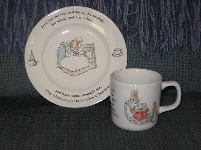 Wedgwood Peter Rabbit Child's 2 Piece Plate & Cup  England 2 Pieces Bed-time