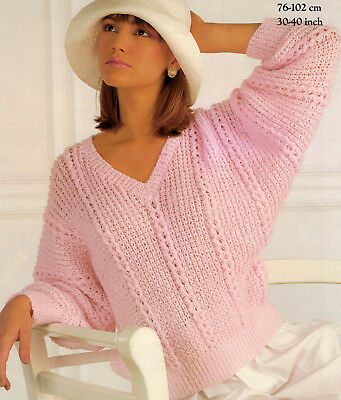 VINTAGE BATWING V Neck Sweater Knitting Pattern Retro Knitted Lady\'s ...