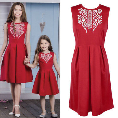 Summer Matching Ethnic Short Dress for Mother Daughter Family Outfits Clothes