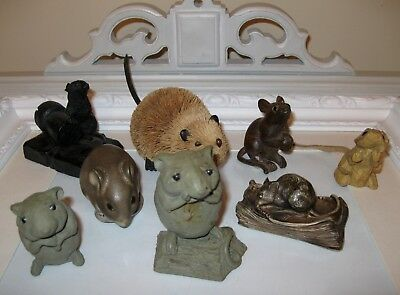 Lot of 8 RARE HTF Mice Figurines Delfino Pottery Pigeon Forge Wood Coal Iron
