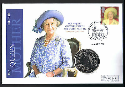 Queen Mother Memorial £5 coin cover 9th April 2002 by Mercury No 03247.