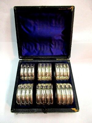 6 Victorian Encased Leather Silver Plate Velvet Numbered Napkin Rings