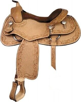 """Western Natural Leather Hand carved Pleasure trail 18"""" Saddle with Silver Trim"""